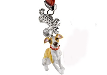 Picture of Whippet Handmade Mini Key Ring White and Fawn