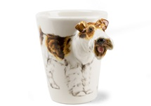 Picture of Wire Hair Fox Terrier Handmade 8oz Coffee Mug White And Tan