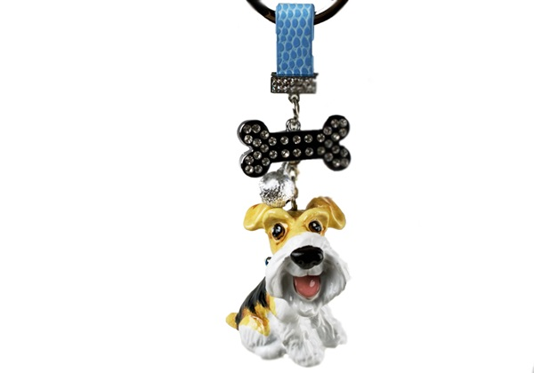 Picture of Wire Hair Fox Terrier Handmade Mini Key Ring White And Tan