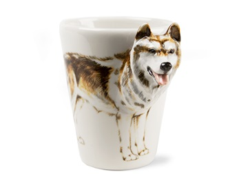 Picture of Wolf 8oz Tawny brown Handmade Coffee Mug