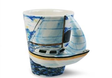 Picture of Yacht Handmade 8oz Coffee Mug Blue