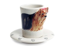 Picture of Yorkshire Terrier Handmade Ceramic 2oz Espresso Cup Tan