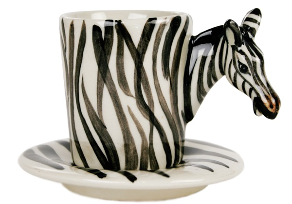 Picture of Zebra Handmade Ceramic 8oz Espresso Cup White Stripe