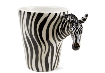 Picture of Zebra Handmade 8oz Coffee Mug White Stripe