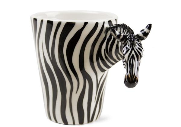 Picture of Zebra Handmade 8oz Coffee Mug White Stripe