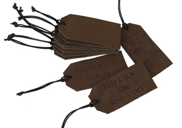 Picture of Indra Leather Regular Gift Tag Chocolate