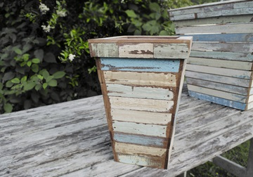 Picture of Rustic Beach Medium Antique Pastel Handmade Reclaimed Waste Paper Basket