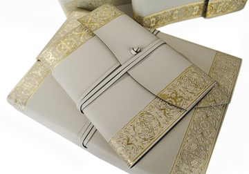 Picture of Angelus Large Gold Handmade Italian Recycled Leather Wrap Journal