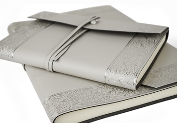 Picture of Angelus Large Silver Handmade Italian Recycled Leather Wrap Journal
