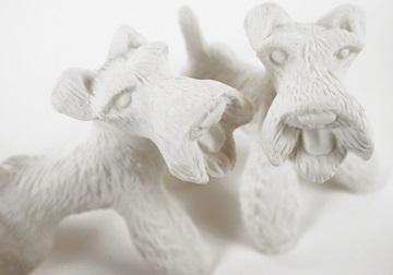 Picture of Airedale Terrier Mini Unglazed Handmade Unpainted Ceramics Cruet Set