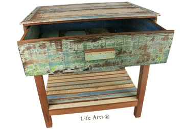 Picture of Rustic Beach Single Drawer Antique Pastel Handmade Reclaimed Bedside Table