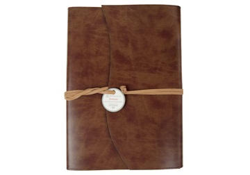 Picture of Romano Extra Large Chestnut Handmade Recycled Leather Wrap Refillable Journal
