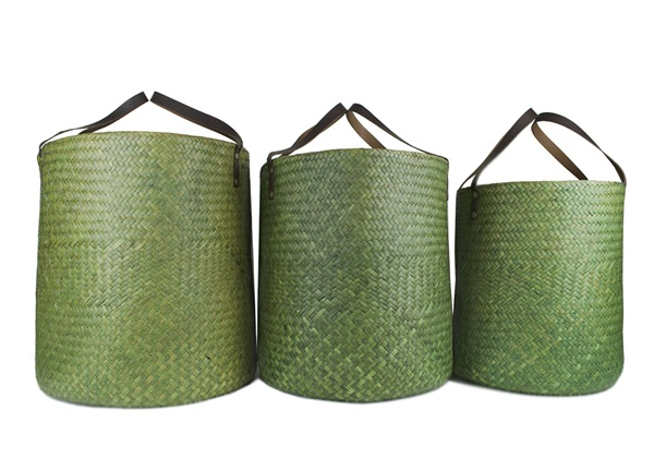 Picture of Jarawa Handwoven Sedge Grass Extra Large Baskets Lime