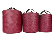 Picture of Jarawa Handwoven Sedge Grass Extra Large Baskets Red
