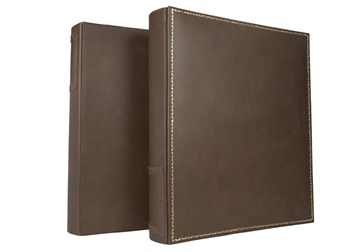 Picture of Esecutivo Large Leather Chestnut Gold Handmade Lever arch files Ring Binder
