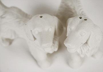 Picture of Golden Retriever Mini Unglazed Handmade Unpainted Ceramics Cruet Set