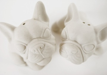 Picture of French Bulldog Mini Unglazed Handmade Unpainted Ceramics Cruet Set