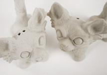Picture of Chihuahua Long-haired Mini Unglazed Handmade Unpainted Ceramics Cruet Set
