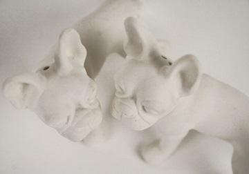Picture of Boston Terrier Mini Unglazed Handmade Unpainted Ceramics Cruet Set