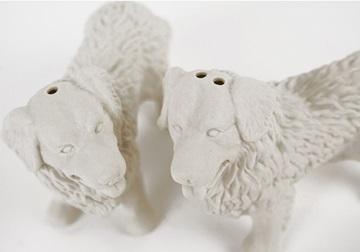 Picture of Bernese Mountain Dog Mini Unglazed Handmade Unpainted Ceramics Cruet Set