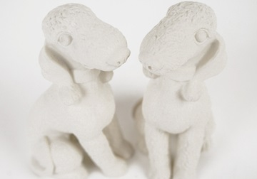Picture of Bedlington Terrier Mini Unglazed Handmade Unpainted Ceramics Cruet Set