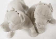 Picture of Pit Bull Terrier Mini Unglazed Handmade Unpainted Ceramics Cruet Set