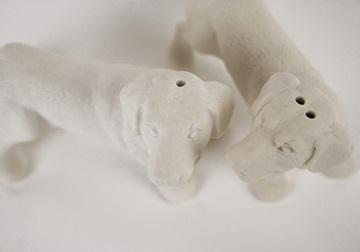 Picture of Labrador Retriever Mini Unglazed Handmade Unpainted Ceramics Cruet Set