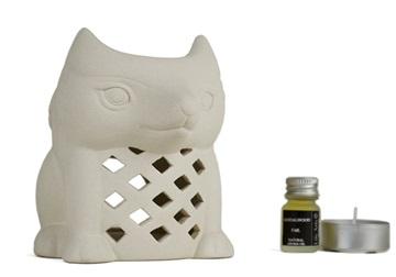 Picture of Fox Sandalwood Gift Set Oil Burner Handmade Stoneware
