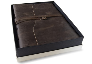 Picture of Enya Handmade Leather Bound A4 Journal Rustic Tan Plain
