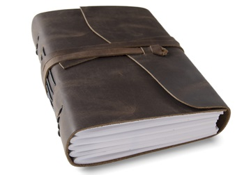 Picture of Enya Handmade Leather Bound A5 Journal Rustic Tan Plain