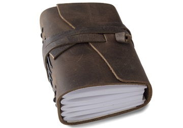 Picture of Enya Handmade Leather Bound Mini Journal Rustic Tan Plain