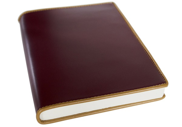 Picture of Cortona Handmade Italian Leather Bound A5 Journal Burgundy Plain