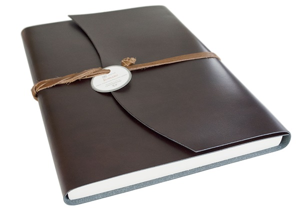 Picture of Romano Handmade Recycled Leather Wrap A4 Journal Rustic Plain