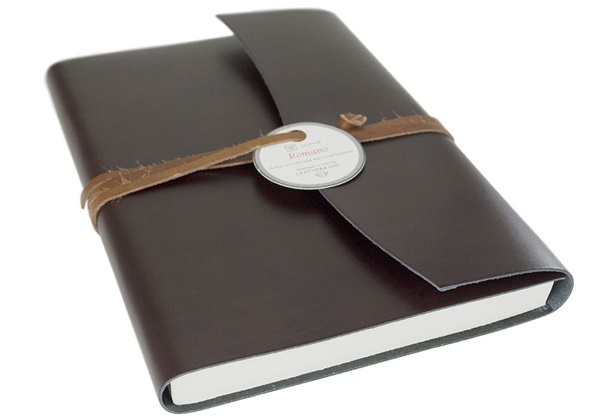 Picture of Romano Handmade Recycled Leather Wrap A5 Journal Rustic Plain