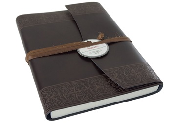 Picture of Maya Handmade Recycled Leather Wrap A5 Journal Rustic Plain