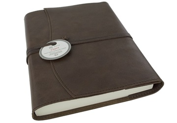 Picture of Capri Handmade Italian Leather Wrap A5 Refillable Journal Chocolate Plain