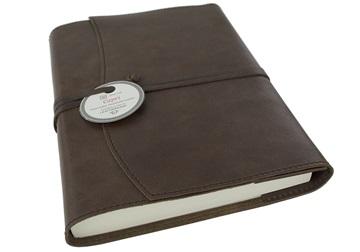 Picture of Capri Handmade Italian Leather Wrap A5 Refillable Journal Chocolate Plain