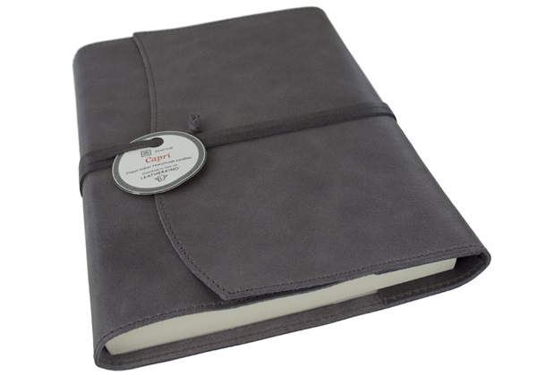 Picture of Capri Handmade Italian Leather Wrap A5 Refillable Journal Charcoal Plain