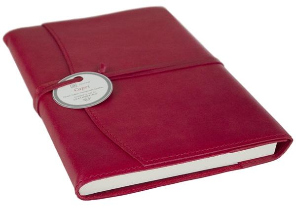 Picture of Capri Handmade Italian Leather Wrap A5 Refillable Journal Firebrick Plain