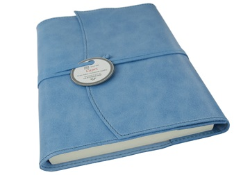Picture of Capri Handmade Italian Leather Wrap A5 Refillable Journal Aeroblue Plain