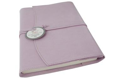Picture of Capri Handmade Italian Leather Wrap A5 Refillable Journal Salmon Plain