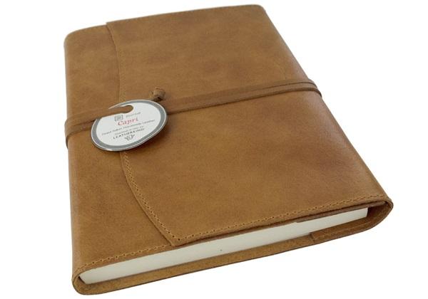 Picture of Capri Handmade Italian Leather Wrap A5 Refillable Journal Tan Plain