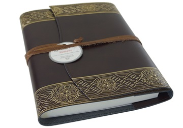Picture of Olympia Handmade Recycled Leather Wrap A5 Refillable Journal Rustic Gold Plain