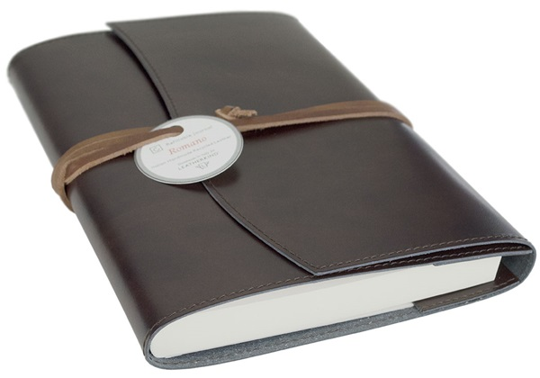 Picture of Romano Handmade Recycled Leather Wrap A5 Refillable Journal Rustic Plain