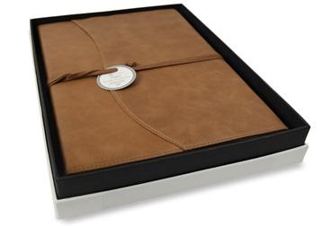 Picture of Capri Handmade Italian Leather Wrap A4 Refillable Journal Tan Plain