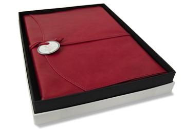 Picture of Capri Handmade Italian Leather Wrap A4 Refillable Journal Firebrick Plain
