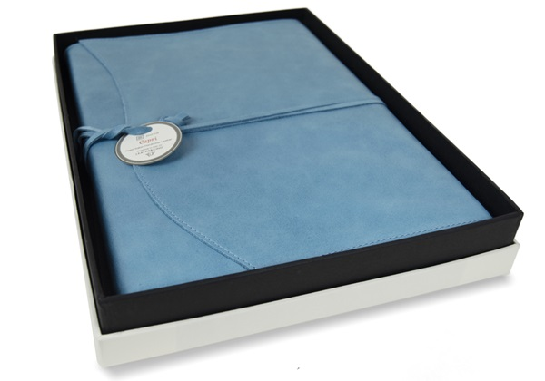 Picture of Capri Handmade Italian Leather Wrap A4 Refillable Journal Aeroblue Plain