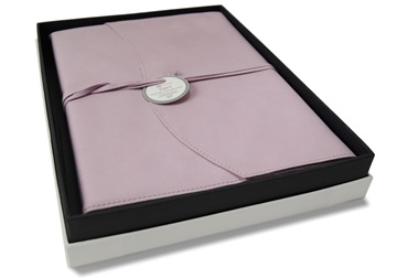 Picture of Capri Handmade Italian Leather Wrap A4 Refillable Journal Salmon Plain