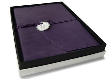 Picture of Capri Handmade Italian Leather Wrap A4 Refillable Journal Aubergine Plain