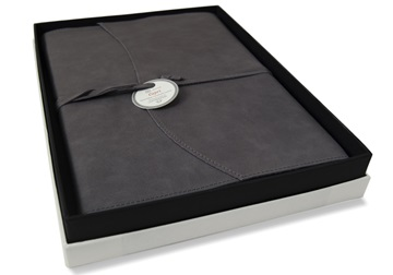 Picture of Capri Handmade Italian Leather Wrap A4 Refillable Journal Charcoal Plain